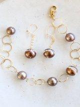 14KGF pearl bracelet&piece set