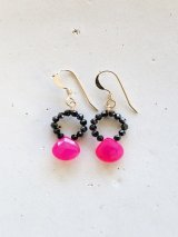 14KGF shockingpink&black pierce