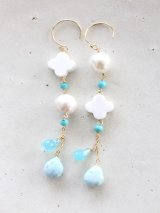 14KGF larimar sea_blue_turquoise pierce