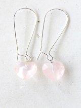 SILVER925 roze quartz heart pierce