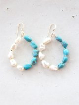 14KGF turquoise pearl  pierce