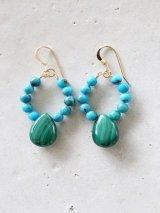 14KGF turquoise malachite pierce