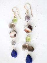14KGF  smoky quartz  lapis lazuli pierce