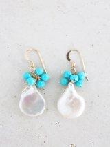 14KGF turquoise pearl pierce