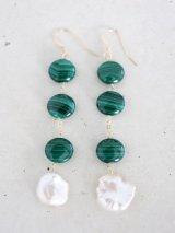 14KGF   pearl malachite pierce