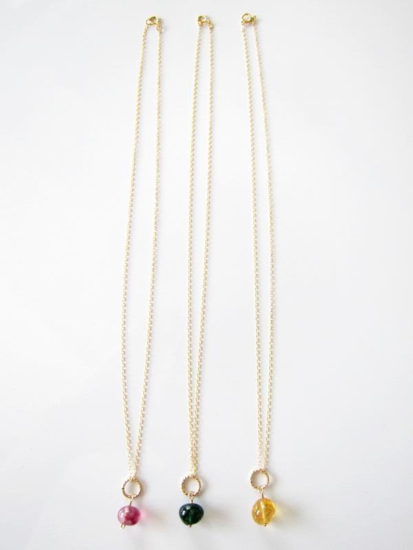 画像1: (14kgf) 3色 水晶 美しい染め一粒ネックレス