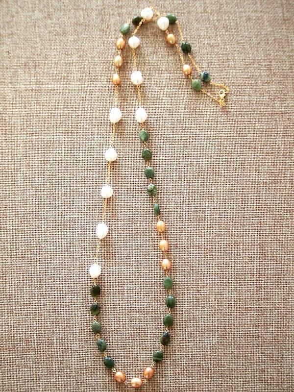 画像1: (14kgf) グリーンオパールと淡水パールのネックレス(90cm)