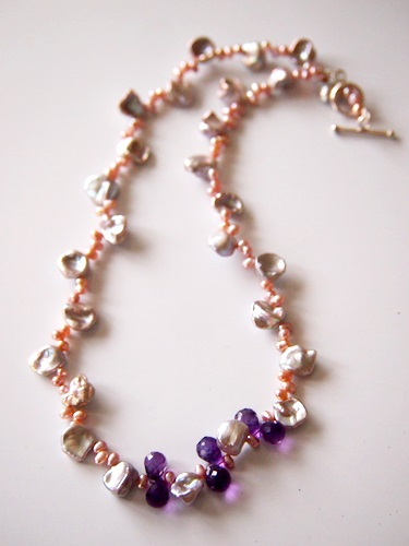画像2: 14KGF amethyst pearl necklace