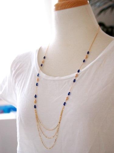 画像3: (14kgf)琥珀・サファイアブルーのネックレス