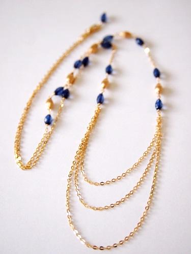 画像1: (14kgf)琥珀・サファイアブルーのネックレス