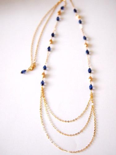 画像2: (14kgf)琥珀・サファイアブルーのネックレス