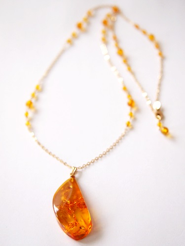 画像2: 14KGF amber necklace