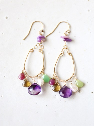 画像1: (14kgf ) colorful[多彩] superseven ruby pearl opal smokyquartz