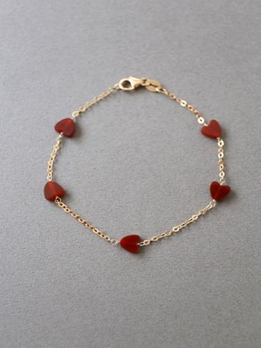 画像1: (14kgf)赤いハートのブレスレット