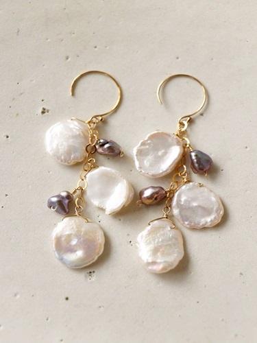 画像1: 14KGF freshwater pearl baroque pearl  pierce