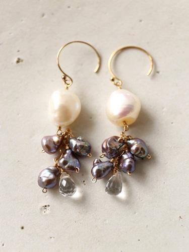 画像1: 14KGF baroque pearl crystal  pierce