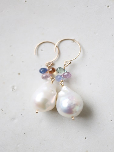 画像1: 14KGF sapphire baroque pearl pierce