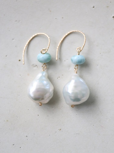 画像1: 14KGF larimar baroque pearl pierce