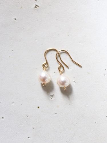画像1: 14KGF akoya pearl  pierce or earrings