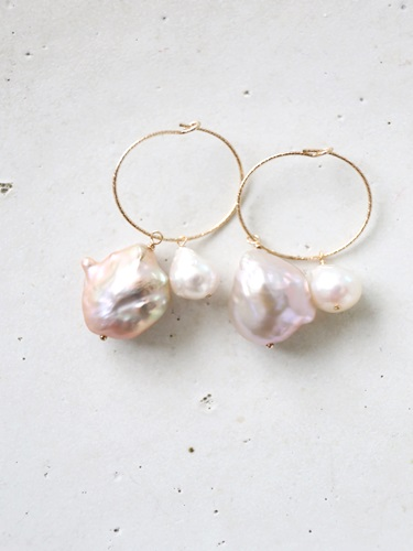 画像1: 14KGF hoop skoya baroque pearl pierce