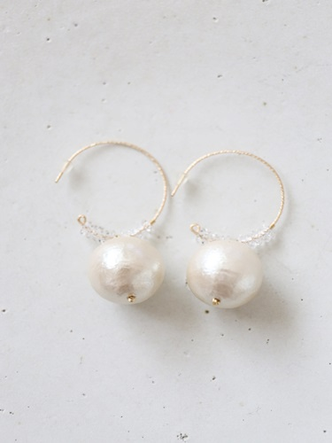 画像1: 14KGF   cotton pearl crystal pierce