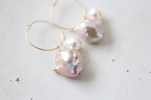 画像2: 14KGF hoop skoya baroque pearl pierce