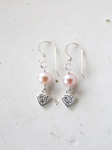 画像1: SILVER925 zirconiaheart pinkpearl pierce