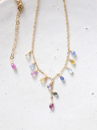 画像1: 14KGF multisapphire necklace