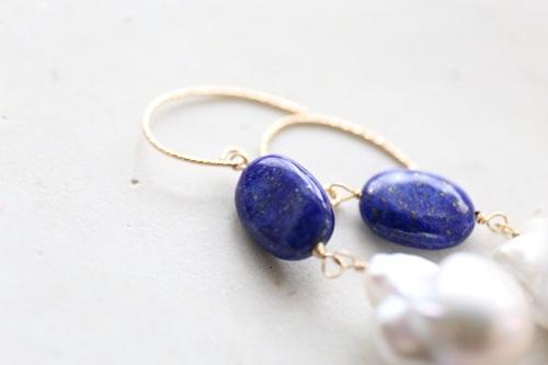 画像2: 14KGF lapis lazuli  baroque pearl pierce