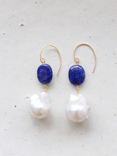 画像1: 14KGF lapis lazuli  baroque pearl pierce