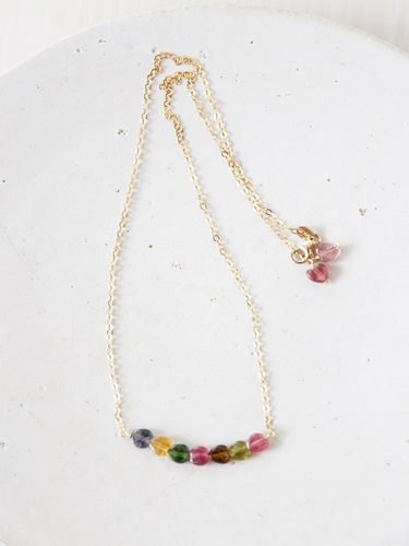 画像1: 14KGF  tourmaline necklace