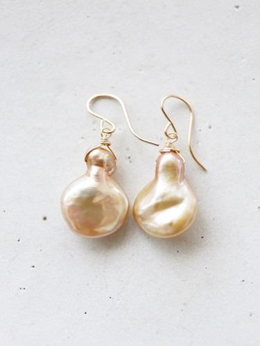 画像1: 14KGF  champagnegold  baroque pearl pierce