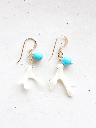 画像1: 14KGF turquoise coral pierce