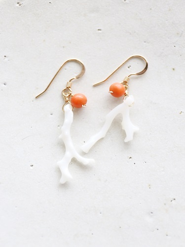 画像1: 14KGF  antique coral pierce