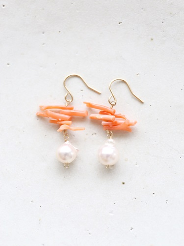 画像1: 14KGF pearl coral pierce