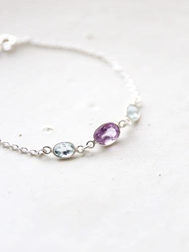 画像1: SILVER925 topaz amethyst bracelet
