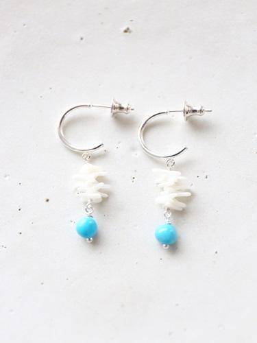画像1: SILVER925 turquoise coral pierce