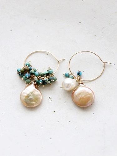 画像1: (14kgf)turquoise pearl hoop piece