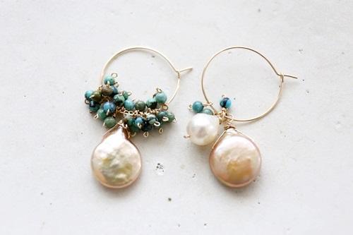 画像2: (14kgf)turquoise pearl hoop piece