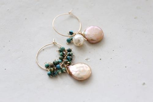 画像3: (14kgf)turquoise pearl hoop piece