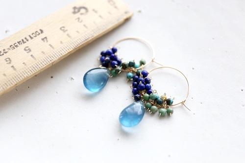画像2: 14KGF flowlignt turquoise lapis lazuli hoop piece