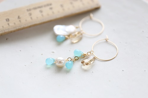 画像2: (14kgf)sea_blue_chalcedony pearl hooppierce