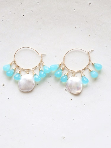画像1: (14kgf)sea_blue_chalcedony pearl hooppierce