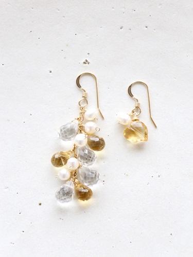 画像1: 14KGFcrystal pearl citrine pierce