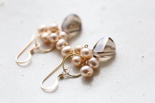 画像2: 14KGF smokyquartz pearl pierce