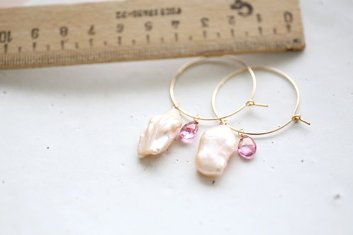 画像2: 14KGF 2way pearl topaz pierce