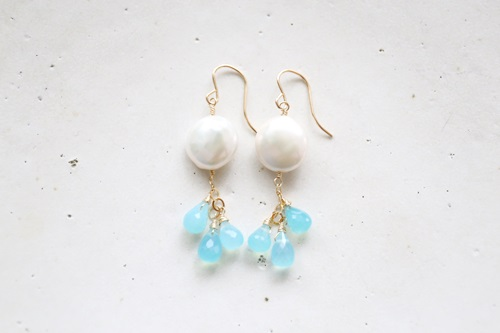 画像2: (14kgf)sea_blue_chalcedony pearl pierce