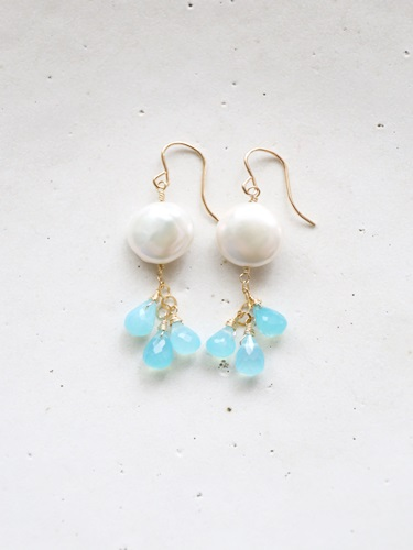 画像1: (14kgf)sea_blue_chalcedony pearl pierce