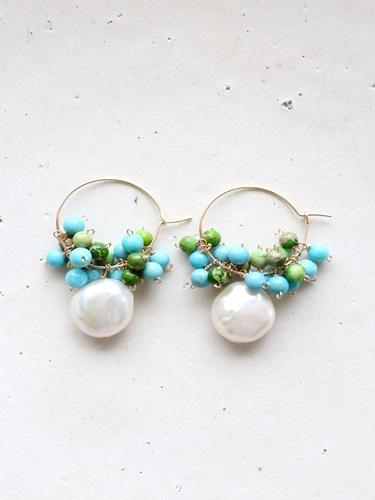 画像1: 14KGF  pearl turquoise  impression piece
