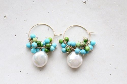 画像2: 14KGF  pearl turquoise  impression piece